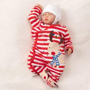 Baby Unisex Weihnachten Strampler Schlafanzug Rentier rot weiß 62 (0-3 Monate)