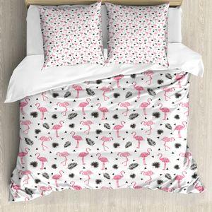 ABAKUHAUS Flamingo Mantele, Aquarell-Kunst Flamingo, Milbensicher Allergiker geeignet mit Kissenbezügen, 155 cm x 200 cm - 80 x 80 cm, Schwarz Pink Cream