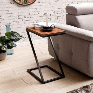 WOHNLING Beistelltisch AKOLA Z-Form Massiv-Holz Sheesham / Metall 45 x 62 x 32 cm | Design Wohnzimmertisch Landhaus-Stil | Anstelltisch Ablagetisch eckig