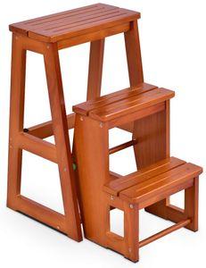 GOPLUS Hockerleiter aus Kiefernholz, Leiterstuhl 3 Stufen, Tritthocker Klappbar, Trittstuhl Braun, Trittleiter Haushaltsleiter Holztreppen, Farbwahl (Natur)