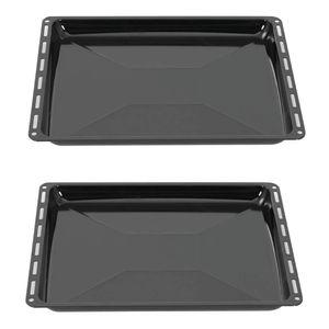 ICQN 445 x 375 x 35 mm Backblech Set   Passend für Whirlpool Ignis Bauknecht   2er Backbleche für Backofen   Emailliert   Fettpfanne   Kratzfest   44,5 x 37,5 cm