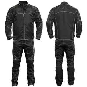 2-teiler Motorradkombi Cordura Textilien Motorradjacke & Motorradhose Schwarz, Größe:56/2XL