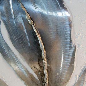 Ölbild FEDERN Feder aus Leinen/Holz/Metall in weiß/grau/braun/silber efach sort. Höhe 90 cm (rechts)