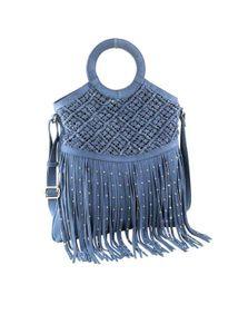 HEINE Damen Veloursledertasche mit Fransen, jeansblau, Größe:0
