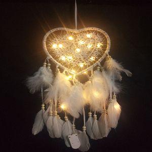 Handgefertigt Herz Form Traumfänger Dreamcatcher mit Led, Zimmer Wand Auto Deko Ornament Geschenk