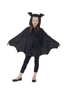 Fledermaus Cape mit Kapuze für Kinder Halloween Kostüm, Größe:M/L