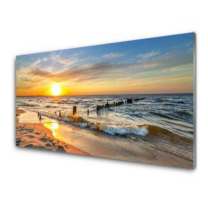 Glasbilder 100x50 Wandbild Druck auf Glas Sonne Meer Strand Landschaft