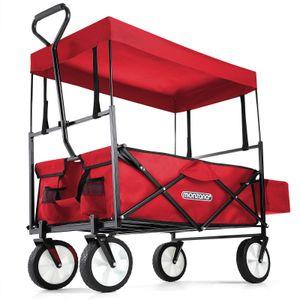 Bollerwagen Handwagen Transportwagen mit Dach Vollgummireifen Sonnendach Netztaschen Außentasche, Farbe:rot