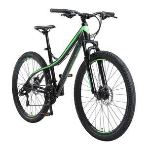 BIKESTAR Hardtail Aluminium Mountainbike 27.5 Zoll, 21 Gang Shimano Schaltung mit Scheibenbremse | 17 Zoll Rahmen MTB Erwachsenen- und Jugendfahrrad | Schwarz & Grün