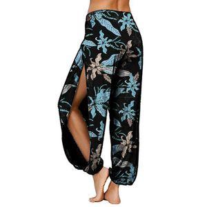 Frauen Blumendruck Seite Schlitzen Lange Haremshose Bloomers Yoga Hose Blau XXXXL