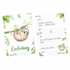 5 Einladungskarten Faultier Dschungel grün inkl. 5 transparenten Briefumschlägen Kindergeburtstag Mädchen Junge