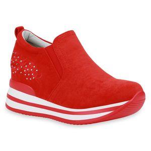 Mytrendshoe Damen Sneaker Slip On Plateau Turnschuhe Keilabsatz Schuhe 833792, Farbe: Rot, Größe: 38