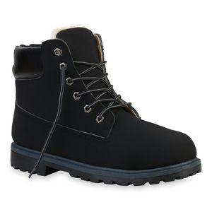 Mytrendshoe Herren Worker Boots Warm Gefütterte Stiefel Outdoor Schuhe 835656, Farbe: Schwarz, Größe: 45