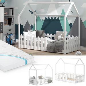 VitaliSpa Kinderbett Hausbett Jugendbett Sonja 80x160 cm weiß inkl Matratze Zaun
