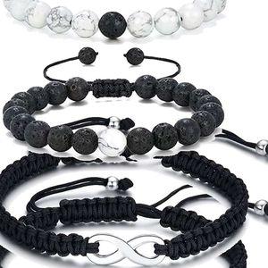 Mllaid MEAGUET 4 Stück Armband Set 2 Infinity Symbol geflochtene Liebe Freundschaft Paar Armband 2 Stück schwarz weiß Perlen Armband Set Makramee Armband Sets