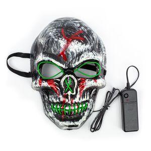 Totenkopf Maske mit LED grün, Grusel, Horrormaske, Halloween, Fasching, Karneval