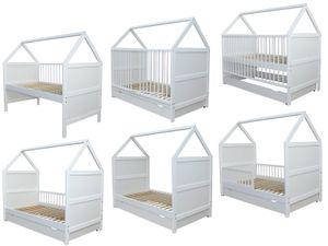 Babybett Kinderbett Juniorbett Bett Haus 140x70cm mit Schublade weiss 0 bis 6 Jahre
