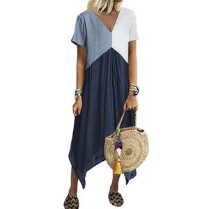 Lässige Frauen Kurzarm V-Ausschnitt Geometrisches Patchwork Unregelmäßiger Saum Midi-Kleid,Blau, 5XL