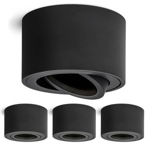 4 Stück Schwenkbare Aufbauleuchten SMOL matt schwarz - Aufbauspot schwenkbar geeignet für LED Module