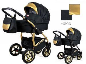 Kinderwagen Gold Lux Onyx, 3in1- Set Wanne Buggy Babyschale Autositz mit Zubehör
