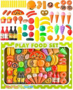 Küchenspielzeug- 90-Teile Plastik Essen Obst Gemüse Rollenspiele Küche Kinder 8234