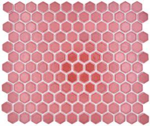 Keramik Mosaik Hexagon Bordüreauxrot glänzend Mosaikfliese Wand Fliesenspiegel Küche Bad MOS11H-0910_f