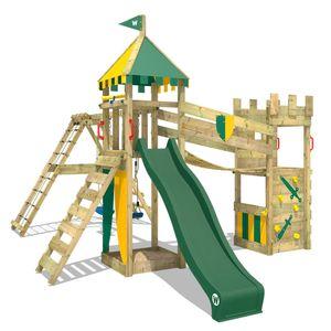 WICKEY Spielturm Ritterburg Smart Legend 150 mit Schaukel & grüner Rutsche, Spielhaus mit Sandkasten, Kletterleiter & Spiel-Zubehör