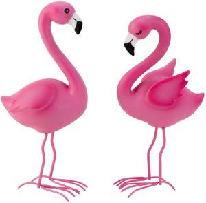Flamingo Paar Deko Garten Figuren Resin Balkon Metall