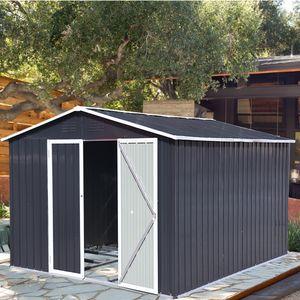 Metall XXXL Gerätehaus 305x254x191cm mit Fundament Satteldach Geräteschuppen Garten Schuppen Pultdach Schwarz