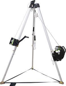 Kratos Dreibein-Set Professional, inklusive Dreibein, Arbeits- und Rettungswinde 20 m, Höhensicherungsgerät, Schnellwechseladapter Set