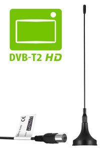 mumbi DVB-T / DVB-T2 HD Antenne 3dB passiv mit Magnetfuss - DVB T / DVB T2 HD Stabantenne digital DVBT Antenne mit Magnet