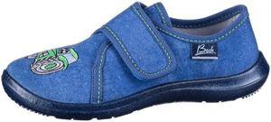 BECK Traktor Jungen Textil Hausschuhe blau, weiches Fußbett, perforierte Sohle
