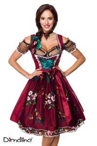 Dirndl mit Spitzenbluse von Dirndline - rot/schwarz Oktoberfest Wiesn