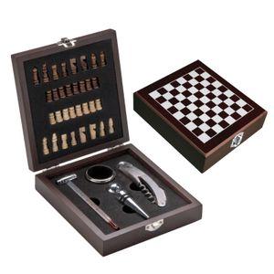 Edles Weinset in Holzbox mit Schachspiel, Kellnermesser, Weinthermometer...