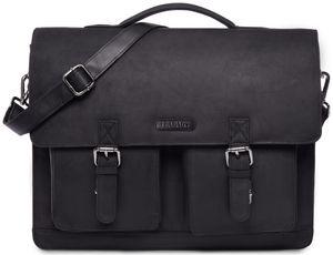 LEABAGS Miami Aktentasche Laptoptasche 15 Zoll Schultertasche aus echtem Leder, (LxBxH): ca. 40 x 12 x 31 cm, Farbe:Schwarz