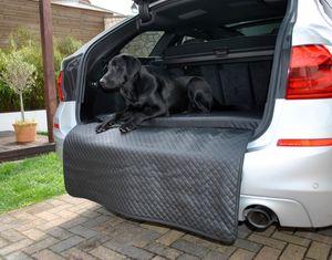 Hundebett Kofferraum Matte Schwarz XL (100x100x5x60cm) Luca Autoschondecke Kunst Leder Autositz Schutzdecke Mayaadi Home