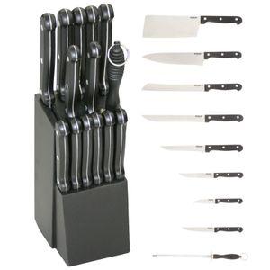 Michelino 15 teiliges Messer-Set inkl. Holzmesserblock, schwarz