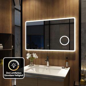 Meykoers LED Badspiegel 100x60cm Badspiegel mit Beleuchtung 3 Lichtfarbe 3000-6500K Lichtspiegel Badezimmerspiegel Wandspiegel mit Touchschalter IP44 energiesparend