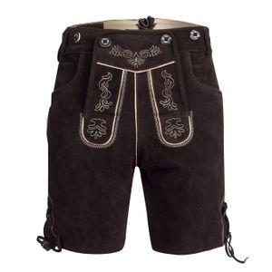 Trachten Lederhose Bundhose kurz mit Trägern aus Rindveloursleder Dunkelbraun 48