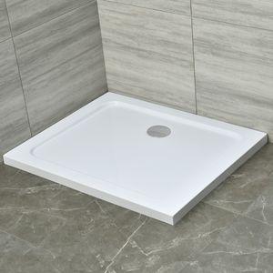 90x100x4 cm | Duschtasse Duschwanne DT02 aus Acryl inkl. Ablaufgarnitur AGD01 mit flexiblem Schlauch | in hochglanz weiß | Ablaufdurchmesser 90mm