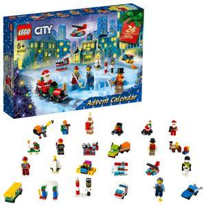 LEGO 60303 City Adventskalender 2021 Mini-Bauset, Spielzeug für Kinder ab 5 Jahren mit Spielbrett und 6 Minifiguren, Weihnachtsgeschenke