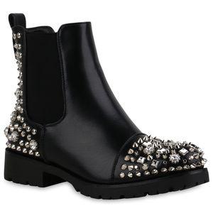 Mytrendshoe Damen Stiefeletten Chelsea Boots Blockabsatz Nieten Strass Schuhe 835422, Farbe: Schwarz, Größe: 36