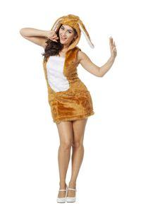 Damen Kostüm sexy Kleid Hase in camel Karneval Fasching Gr.34