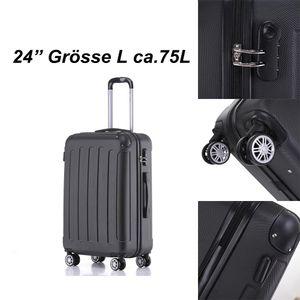 Reise Koffer Hartschalenkoffer Trolley Reisekoffer L Schwarz 4 Rollen Roll-Koffer Handgepäck
