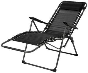Countryside®  Sonnenliege Gartenstuhl Relaxsessel Klappsessel Campingstuhl mit Kopfpolster, schwarz, max. Belastung 110kg, 6-fach verstellbare Rückenlehne
