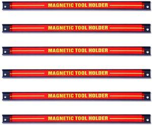 GOPLUS Magnetleiste, Magnet Werkzeughalter Rot, Werkzeug Halterung, Werkzeugleiste, Magnetischer Werkzeughalter ca.46cm, 13kg Tragkraft 6 Stuecke
