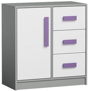 Kommode GIT 7 Mehrzweckschrank mit 2 Türen und Schublade, Kinderzimmer