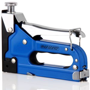 Monzana Handtacker 3in1 Tacker 1500 tlg Klammern & Nägel stufenlos einstellbare Schlagstärke Heftgerät Klammergerät Holz