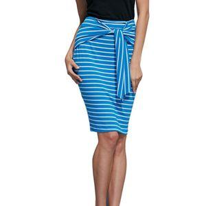 Damenmode High Waist Stripe Schnüren enge Tasche Gesäß Bleistiftrock Größe:5XL,Farbe:Blau