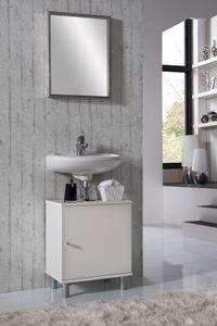 Wilmes 84101-75 0 75 Waschtisch Unterschrank 1-trg. - Korpus Weiß Nachbildung, Front Weiß Nachbildung